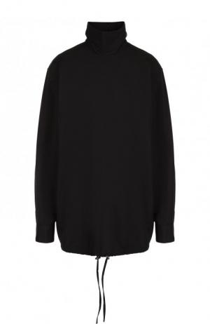 Однотонная хлопковая блуза с воротником-стойкой Dries Van Noten. Цвет: черный
