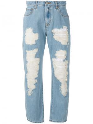 Рваные укороченные джинсы Vivienne Westwood Anglomania. Цвет: синий